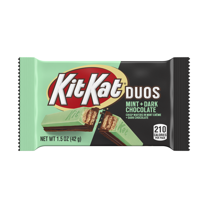 Image of KIT KAT Duos Dark Chocolate Mint Standard Bar, 1.5 oz. Packaging