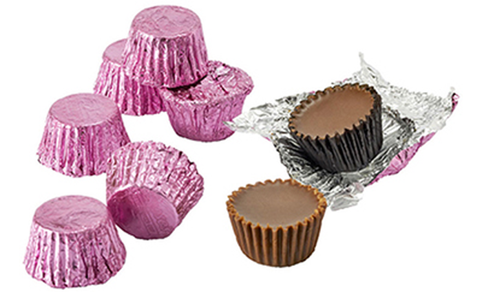 Image of REESE'S Peanut Butter Cups Miniatures in Pink Foils - 4.16 lb. Bag [4.16 lb. bag] Packaging