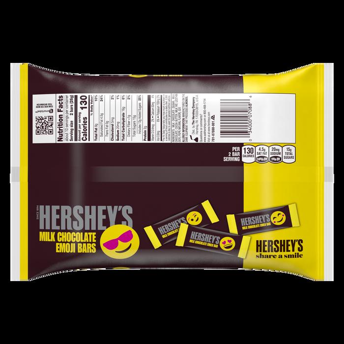 Image of HERSHEY'S Milk Chocolate Emoji Bars Snack Size, 9.4 oz. bag Packaging