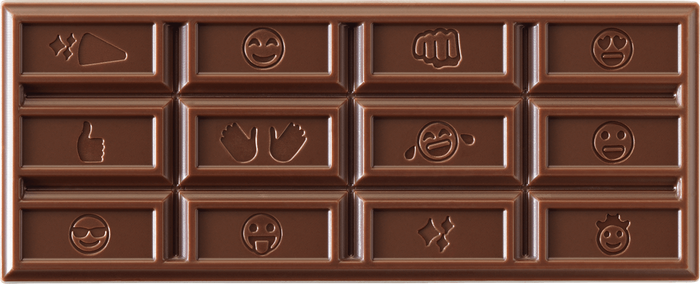 Image of HERSHEY'S Milk Chocolate Emoji Bars, 36-Pack (36 x 1.55 oz. bar) Packaging