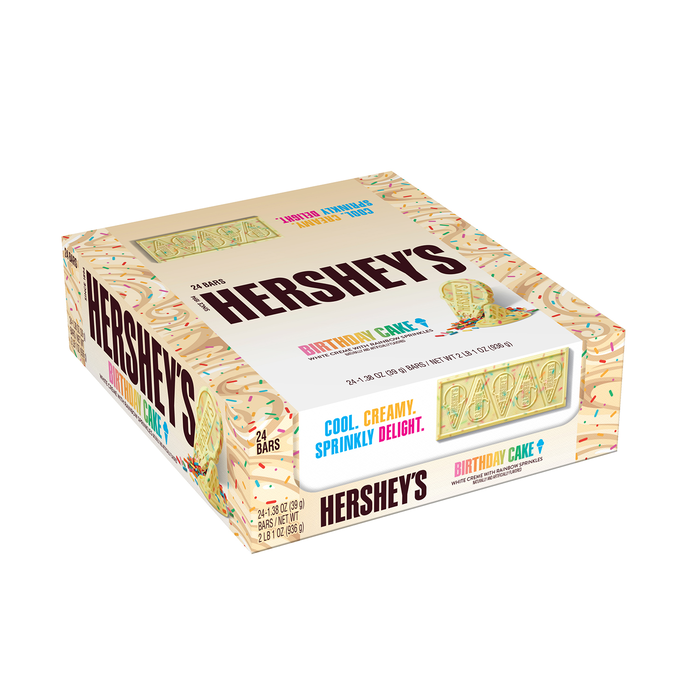 Image of HERSHEY'S Ice Cream Shoppe Birthday Cake Flavored Candy Bar, 24-Pack (24 x 1.38 oz. bar) Packaging