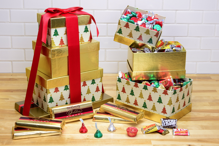Image of HERSHEY'S Four-Box Holiday Gift Tower, 1 tower Packaging