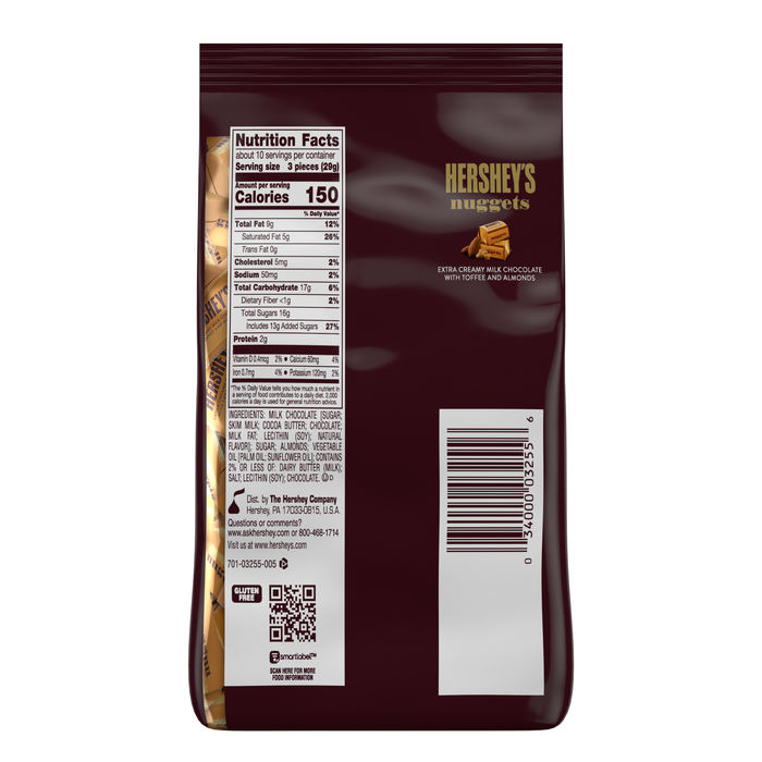 Image of HERSHEY'S NUGGETS Milk Chocolate with Toffee and Almonds [10.56 oz. bag] Packaging