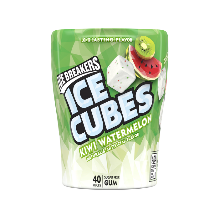 Image of ICE BREAKERS ICE CUBES Kiwi Watermelon Gum Packaging