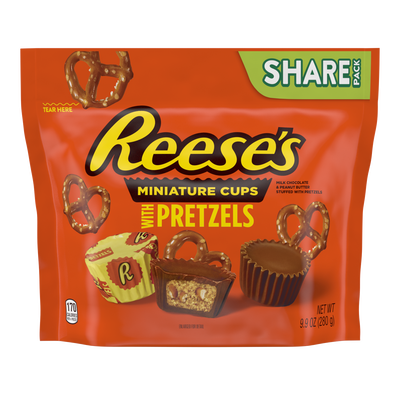 REESE'S with Pretzels Miniatures Milk Chocolate Peanut Butter Cups, 9.9 oz bag