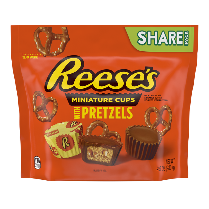 Image of REESE'S with Pretzels Miniatures Milk Chocolate Peanut Butter Cups, 9.9 oz bag Packaging