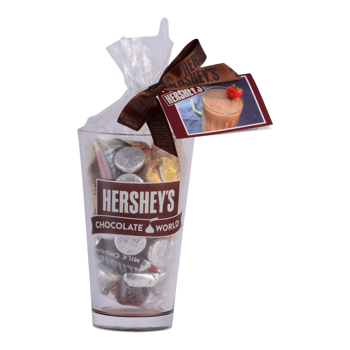 Image of HERSHEY'S Chocolate World Pint Glass Filled with Candy Packaging