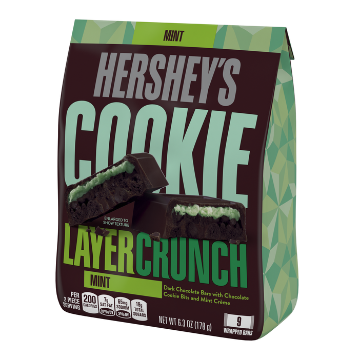 Image of HERSHEY'S COOKIE LAYER CRUNCH Bar - Mint (Stand-up Pouch) [6.3 oz. stand-up pouch] Packaging