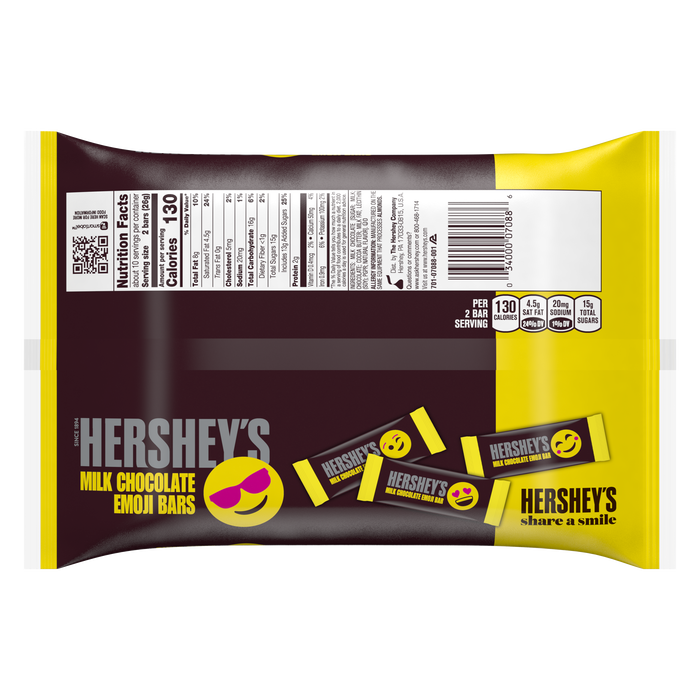 Image of HERSHEY'S Milk Chocolate Emoji Bars Snack Size, 9.4 oz. bag Packaging