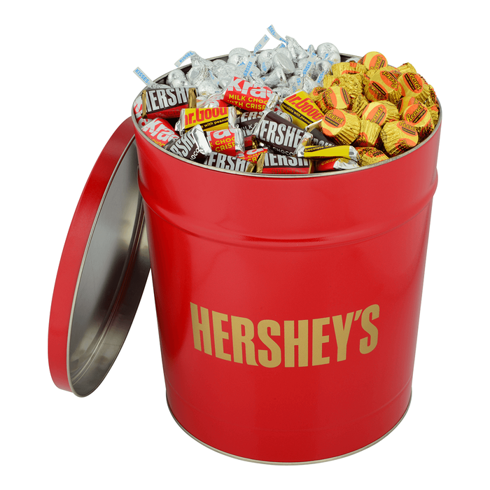 Image of HERSHEY'S 15 lb Valentine's Day Candy Gift Tin in Red [3-Pack (3 x 15 lbs. tin)] Packaging