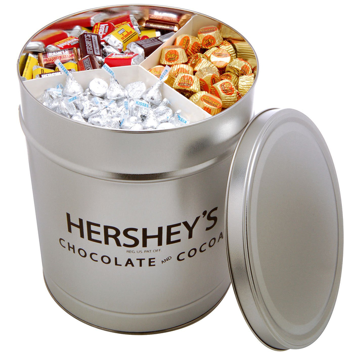 Image of HERSHEY'S Filled Silver Tin - 15 lbs. [15 lbs. tin] Packaging