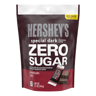 HERSHEY'S SPECIAL DARK Zero Sugar Chocolate Candy Bar, 5.1 oz bag