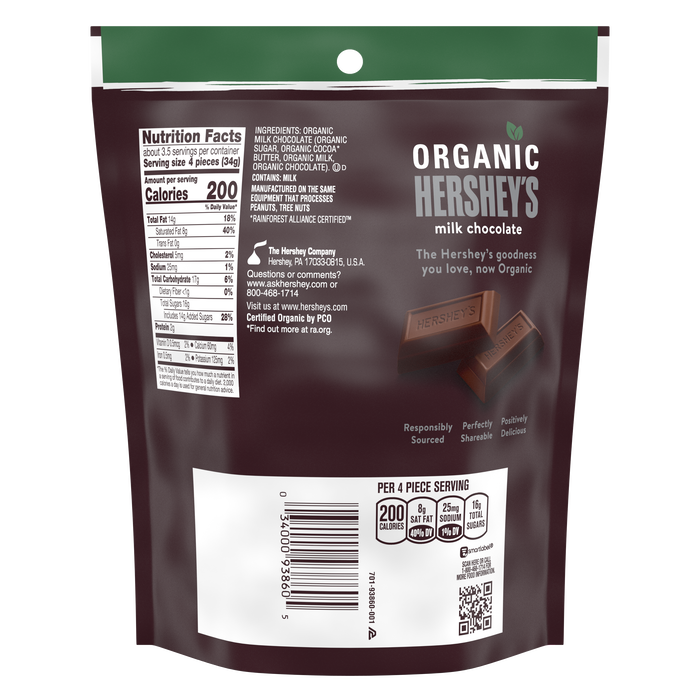 Image of HERSHEY'S Organic Miniatures Milk Chocolate Candy Bars, 4.2 oz bag Packaging