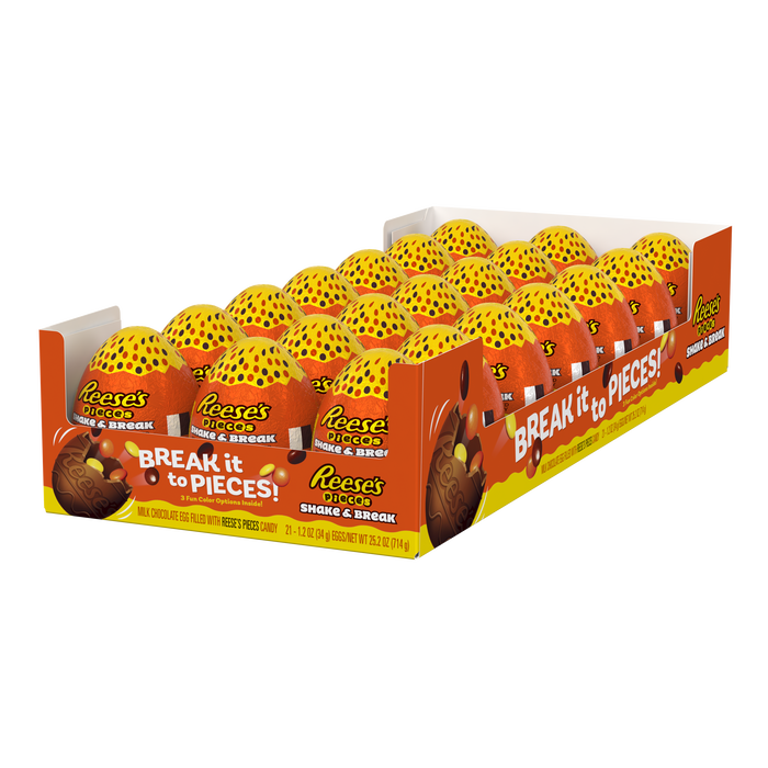 Image of REESE'S Pieces Shake & Break Milk Chocolate Eggs Filled With REESE'S Pieces Candy, 1.2 oz. Packaging