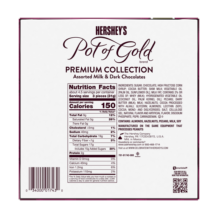 Image of HERSHEY'S POT OF GOLD Premium Collection Assorted Milk & Dark Chocolates, 5 oz., 14 ct. Packaging