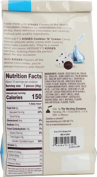 Image of HERSHEY'S KISSES Flavors of the World Cookies 'N' Creme Candy, 10 oz. Packaging