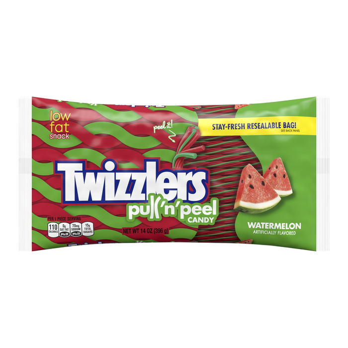Image of TWIZZLERS PULL 'N' PEEL Watermelon Candy Packaging