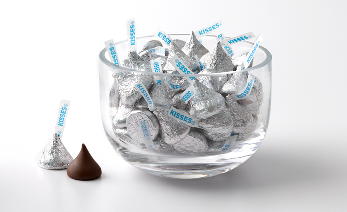 Image of KISSES Milk Chocolates in Silver Foils - 25 lbs. [25 lbs. bulk box] Packaging