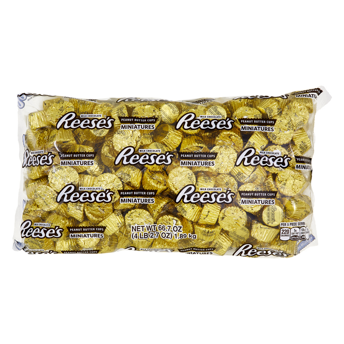 Image of REESE'S Peanut Butter Cups Miniatures in Gold Foils - 4.16 lb. Bag [4.16 lb. bag] Packaging