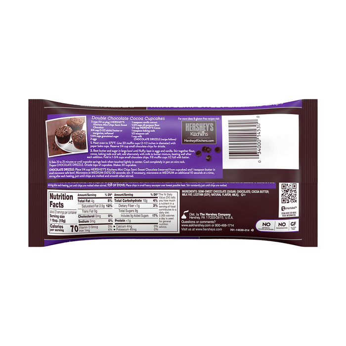 Image of HERSHEY'S Semi-Sweet Mini Chocolate Chips, 12 oz. Bag Packaging