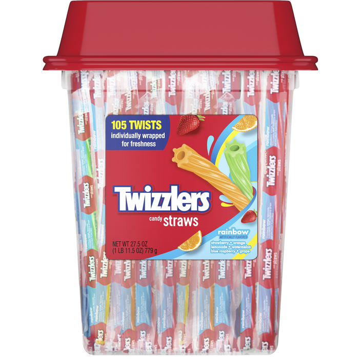 Image of TWIZZLERS Rainbow Candy Straws - 105 ct. Packaging