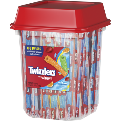 TWIZZLERS Rainbow Candy Straws - 105 ct. [27.5 oz. canister]