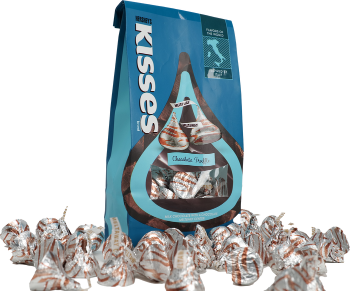 Image of HERSHEY'S KISSES Flavors of the World Truffle Candy, 10 oz. Packaging