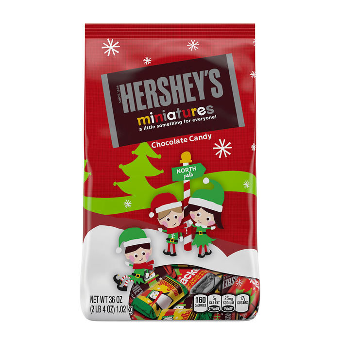 Image of Holiday HERSHEY'S Miniatures Milk Chocolates, 36 oz. [4-Pack (4 x 36 oz. stand-up bag)] Packaging