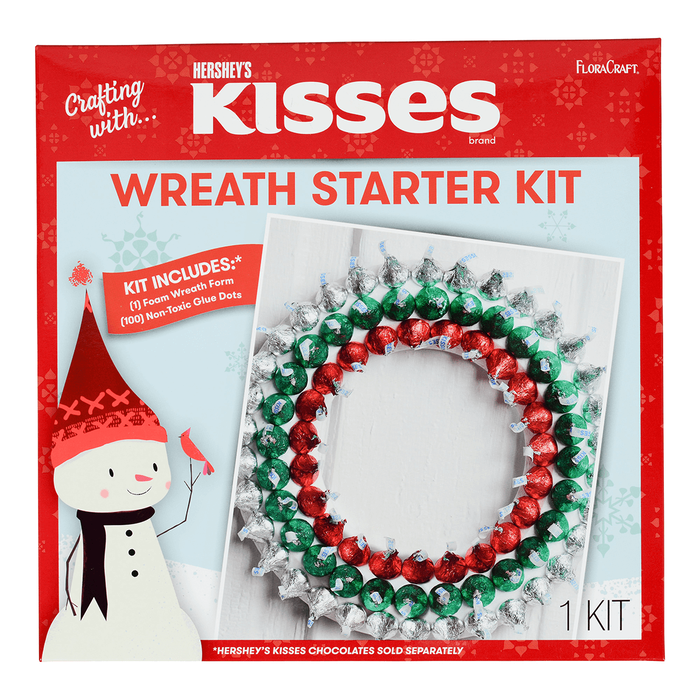 Image of KISSES Floracraft Holiday Wreath Decoration Activity Kit Packaging