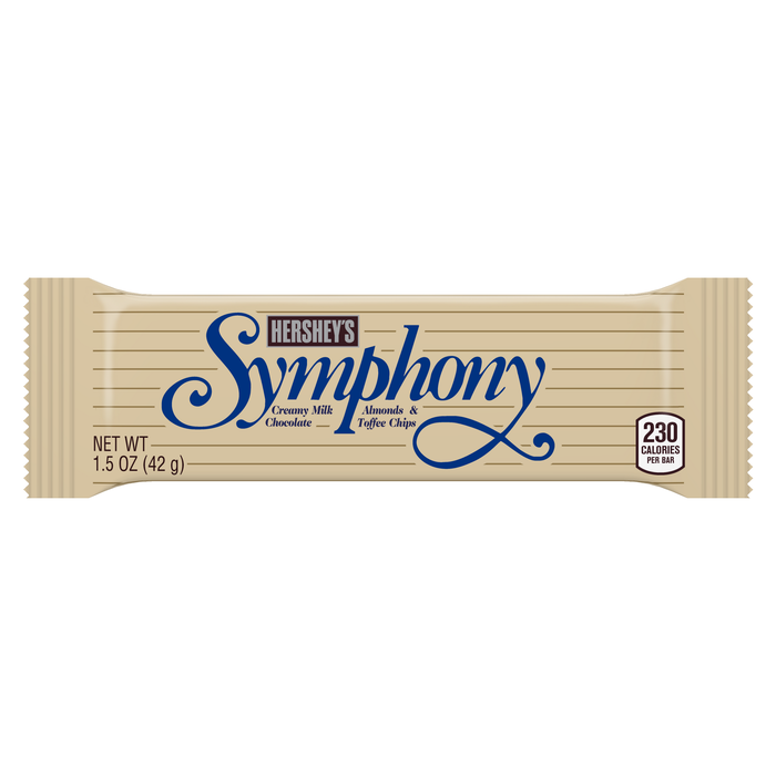 Image of SYMPHONY Milk Chocolate with Almonds & Toffee Chips Standard Bar [36-Pack (36 x 1.5 oz. bar)] Packaging