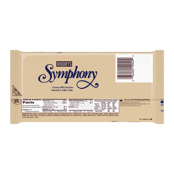 Image of SYMPHONY Milk Chocolate with Almonds & Toffee Chips Giant (6.8 oz.) Bar Packaging