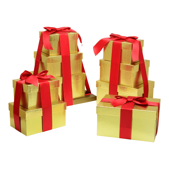Image of Golden HERSHEY'S Four-Box Chocolate Gift Tower Packaging