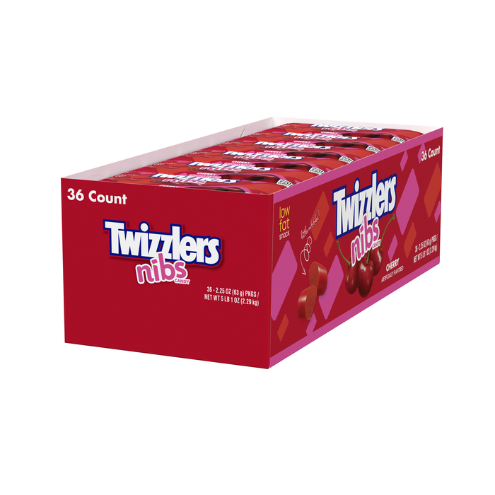 Image of TWIZZLERS NIBS Cherry Candy Standard Bag [36-Pack (36 x 2.25 oz. bag)] Packaging