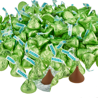 KISSES Milk Chocolates in Kiwi Green Foils - 4.16 lbs.