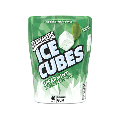 ICE BREAKERS ICE CUBES Spearmint Gum, 3.24 oz. - 4 ct.
