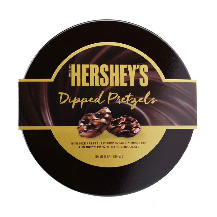 Image of HERSHEY'S Milk Chocolate Dipped Pretzel Tin - 16 oz. [16 oz. tin] Packaging