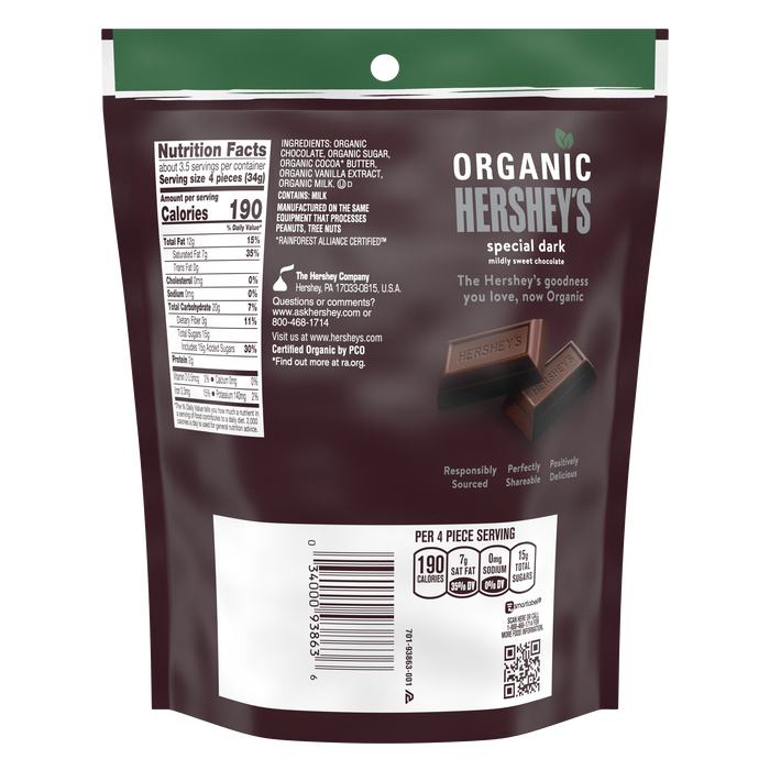 Image of HERSHEY'S SPECIAL DARK Organic Miniatures Chocolate Candy Bars, 4.2 oz bag Packaging