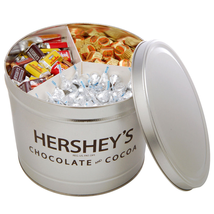 Image of HERSHEY'S Filled Silver Tin - 10 lbs. [10 lbs. tin] Packaging