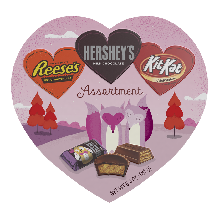 Image of Valentine's Assortment Box with HERSHEY'S, KIT KAT® and REESE'S Hearts, 7.1 oz. Packaging