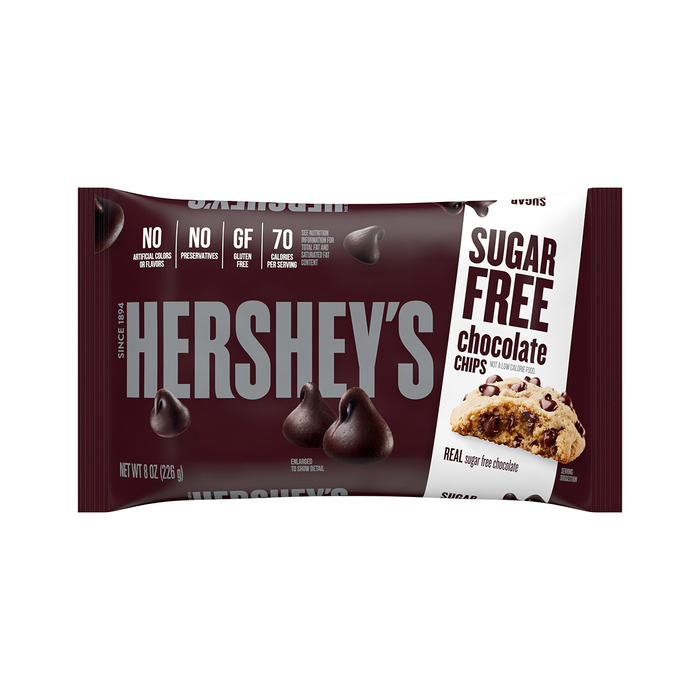 Image of HERSHEY'S Sugar Free Baking Chips, 8 oz. Bag Packaging
