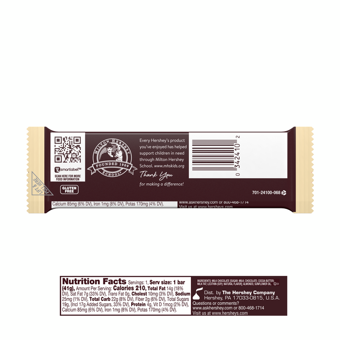 Image of HERSHEY'S Milk Chocolate with Almonds Standard Bar (36 ct.) [36-Pack (36 x 1.45 oz. bar)] Packaging