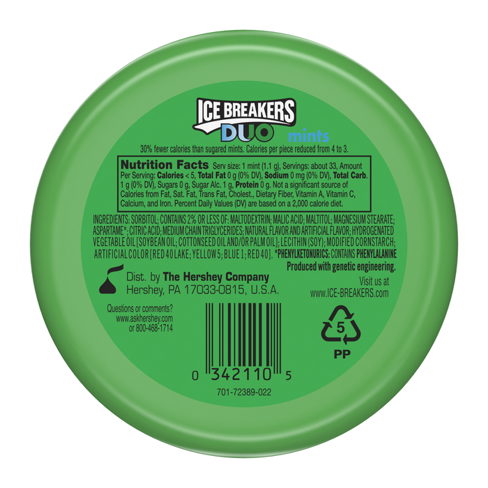 Image of ICE BREAKERS DUO Watermelon Flavored Mints Packaging