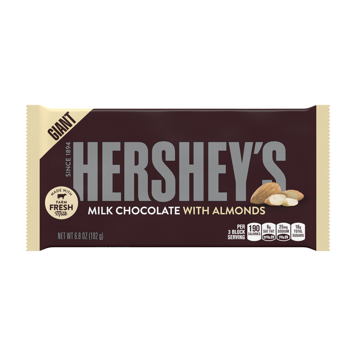 Image of HERSHEY'S Milk Chocolate with Almonds Giant (6.8 oz.) Bar Packaging