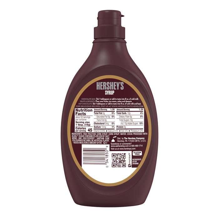Image of HERSHEY'S Special Dark Syrup [22 oz. squeeze jar] Packaging