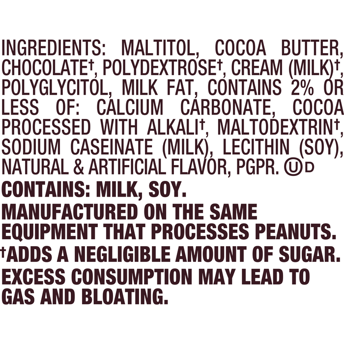 Image of HERSHEY'S Zero Sugar Chocolate Candy Bars, 5.1 oz bag Packaging