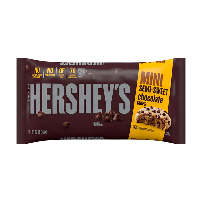 Image of HERSHEY'S Semi-Sweet Mini Chocolate Chips, 12 oz. Bag Packaging