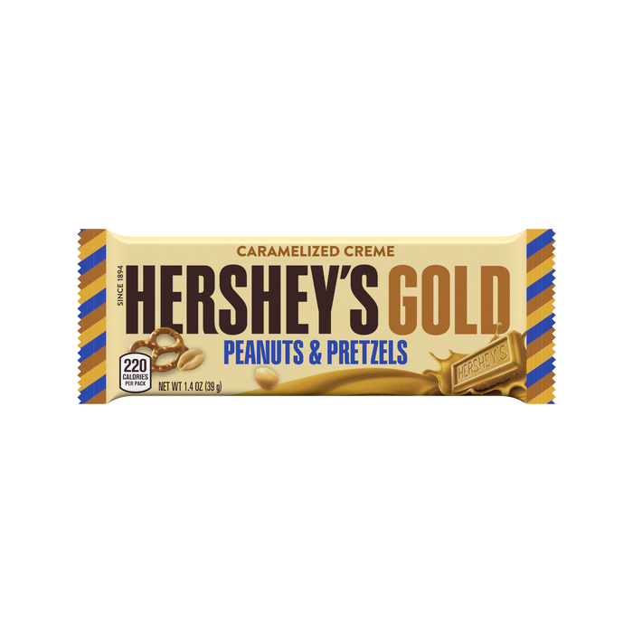 Image of HERSHEY'S GOLD with Peanuts & Pretzels Standard Bar Packaging