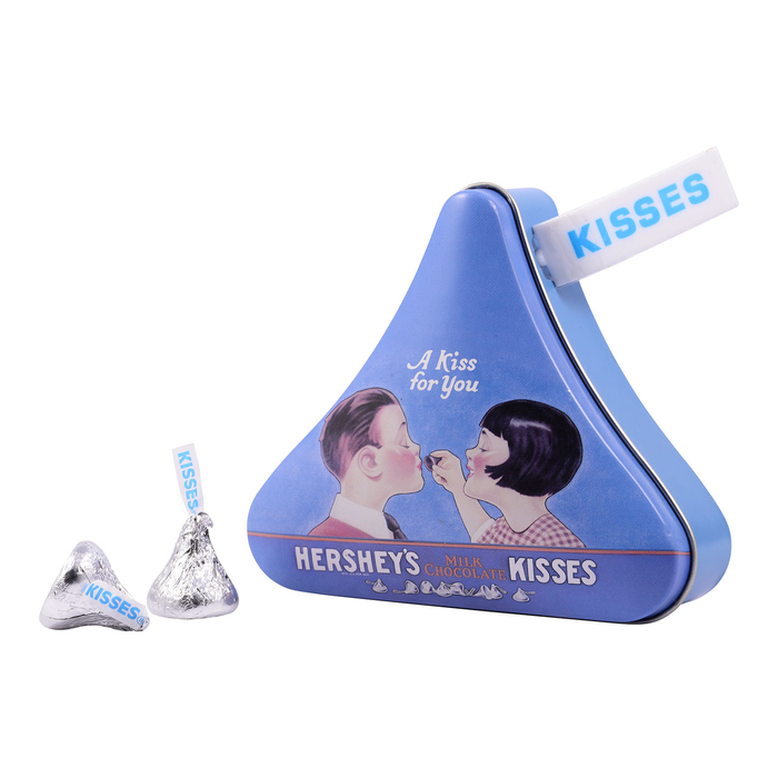 """Image of """"A Kiss For You"""" HERSHEY'S KISSES Filled Vintage Candy Tin Packaging"""