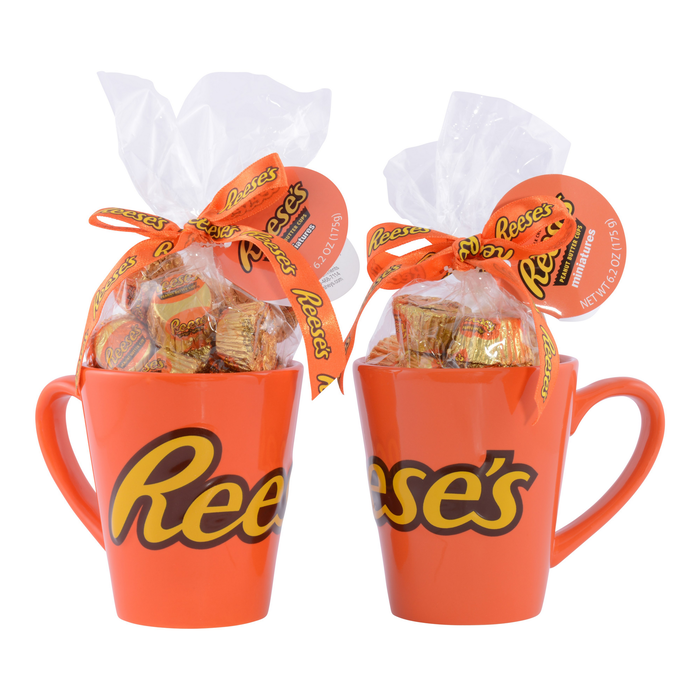 Image of REESE'S Embossed Mug Gift Filled with REESE'S Peanut Butter Cup Miniatures Packaging