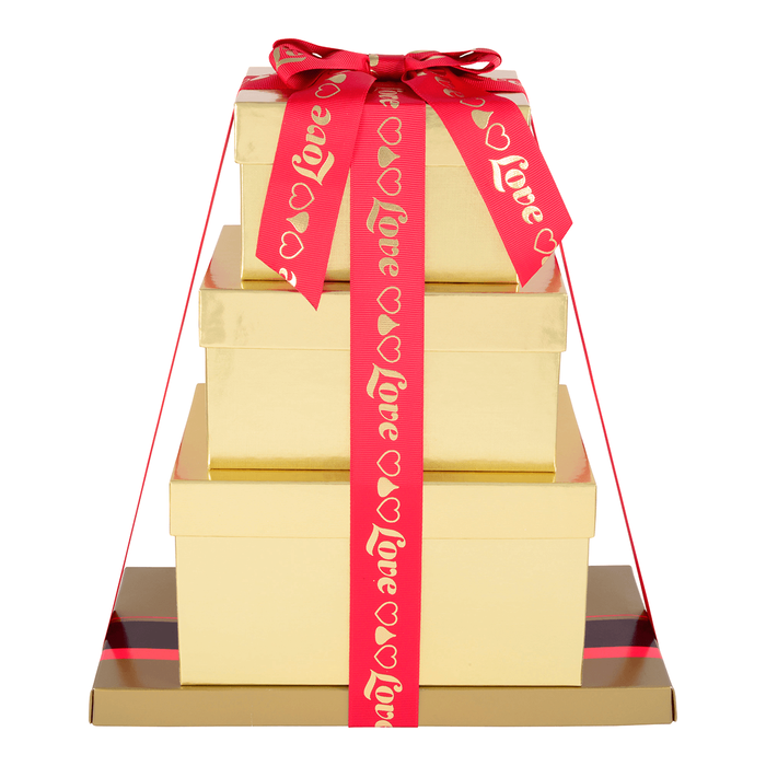 Image of HERSHEY'S Four-Box Chocolate Love Gift Tower Packaging
